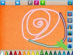 Draw and Tell, features a standard coloring palette of 27 crayons, pencils or brushes. But in addition to the color selections, stamps, stickers and stencils, it has an option to record a short message to attach to the drawing.