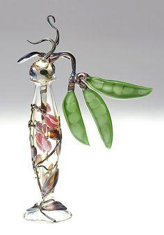 """""""Sweet Pea Bottle""""  Art Glass Perfume Bottle    Created by Loy Allen  Lampworked bottle with sweet pea stopper."""