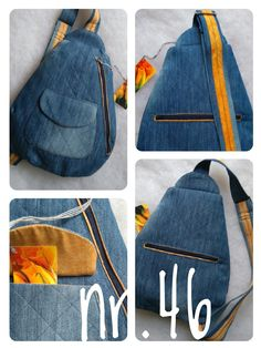 Mono strap jeans backpack, handmade by InKa