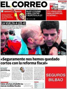 Los Titulares y Portadas de Noticias Destacadas Españolas del 15 de Septiembre de 2013 del Diario El Correo ¿Que le pareció esta Portada de este Diario Español?