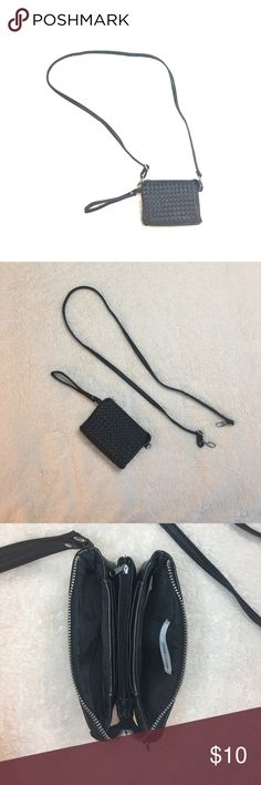 Black Wristlet Crossbody Maurices Brand, Excellent condition synthetic leather wristlet/crossbody with removable stap. Can be used as a wristlet or cross body purse. Strap has a approx 24 inch drop fully extended. Front has a lattice design, back is solid. Exterior zipper opens to two open pockets on each side, 6 card slots (3 on each side), and an interior zipper coin pocket. 6.5width x 5height. Will hold smaller Phones, holds my iPhone6s plus WITHOUT CASE very very snug. Bags Crossbody…