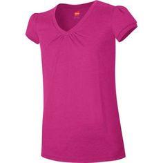 Hanes Girls' Shirred V-Neck T-shirt, Size: Large, Pink