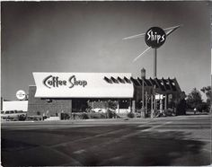 "Martin Stern Jr. is credited as a pioneer of Googie style architecture; his first of that style was Ship's Coffee Shop. Three Ship's Coffee Shops operated in the Los Angeles area from 1956 until the 1990s. This photo is part of the UNLV Libraries ""Dreaming the Skyline: Resort Architecture and the New Urban Space"" digital collection."