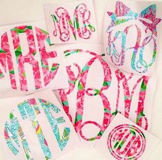 Lilly Pulitzer Inspired Decal / Corkcicle Tumbler Decal / Yeti Rambler Tumbler Monogram / Yeti Decal Monogrammed by 28716Chick on Etsy https://www.etsy.com/listing/448603130/lilly-pulitzer-inspired-decal-corkcicle