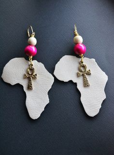 Leather Africa Earrings with Ankhs by MarcieRoxx on Etsy, $22.00