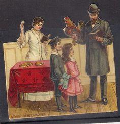 Judaica Old Litho Jewish Prize Die Cut Kapparot Jewish Family 1906