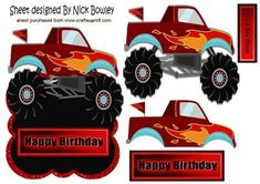 red orange monster truck with flames over the edge on Craftsuprint - Add To Basket!
