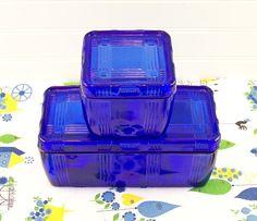 1930s Cobalt Blue Hazel Atlas Crisscross Refrigerator by esther2u2, $75.00