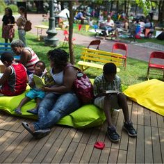 Burnside Park in Greater Kennedy Plaza focuses on programming for all ages--especially children--to activate the various public spaces! For more information: http://www.pps.org/blog/a-playful-plaza-bringing-imagination-and-new-life-to-downtown-providence/ #Placemaking #LQC