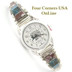 Four Corners USA Online - Steve Francisco Women's Crazy Horse Inlay Sterling Watch Native American Silver Jewelry, $107.00 (http://stores.fourcornersusaonline.com/steve-francisco-womens-crazy-horse-inlay-sterling-watch-native-american-silver-jewelry/)