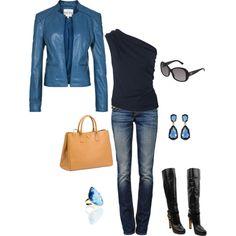 Blue leather jacket <3