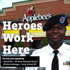 11 Heroes Work Here Ideas Veteran Applebee S Hero