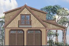This charming Craftsman garage plan can store 2 cars or 4 if stacked two deep. Both garage doors are the same size at 9' wide and 10' tall. Towards the back of the garage is a work bench with sink and
