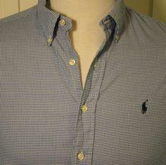 Ralph Lauren Yarmouth 17 32 33 XL Blue White Gingham Check Dress Casual Shirt #RalphLauren #ButtonFront