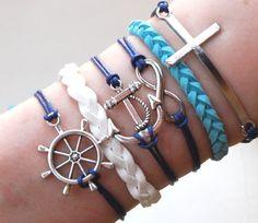 Antique Silver Bracelet, Cross Bracelet, Anchor Bracelet, Infinity bracelet