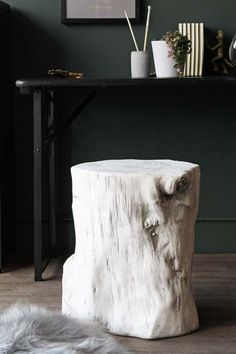 White Tree Trunk Effect Stool Tree Trunk Table Trunk Furniture Tree Stump Furniture
