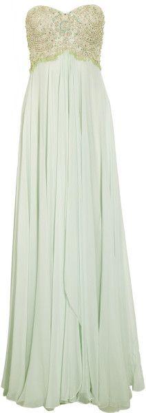 Marchesa Green Beaded Silk Chiffon Gown