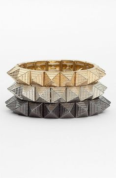 Cara Accessories Pyramid Stretch Bracelet | Nordstrom