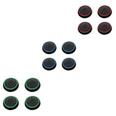 Insten 6 Pair  12 Pcs Silicone Analog Thumb Grip Stick Cover for PS4 Dualshock 4 PS3 Dualshock 3 PS2 Dualshock Xbox One Wireless Xbox 360 Controllers BlackGreen BlackRed BlackBlue * Learn more by visiting the image link.