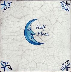 umbra-tile-halfmoon. Paul Bommer faux Delft Tile. Half Moon, Holywell St., from The Signs of Old London. copyright © Paul Bommer