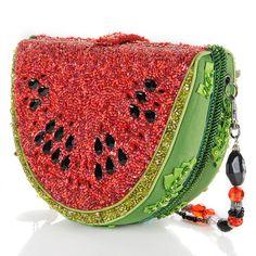 Mary Frances Juicy Watermelon Beaded Bag (via Red & Green .- Mary Frances Juicy Watermelon Beaded Bag (via ♥ Red & Green ♥) - Unique Handbags, Unique Purses, Handmade Handbags, Unique Bags, Purses And Handbags, Mary Frances Purses, Mary Frances Handbags, Beaded Purses, Beaded Bags