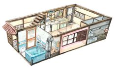 "mattjabbar: "" First floor of the house my main character bought to live in. An old and quite small Japanese style detached house just outside Tokyo. As the house will play a significant role in the project I set out to make a model image. Bedroom Drawing, House Drawing, Environment Concept Art, Environment Design, Building Drawing, Isometric Art, Japanese House, Japanese Style, Japanese Interior"