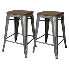 """Threshold™ Hampden 24"""" Industrial Counter Stool with Wood Top (Set of 2)"""