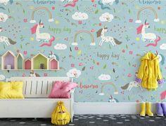 cartoon unicorn mural bedroom boys rainbow child play wallmur unicorns colorful