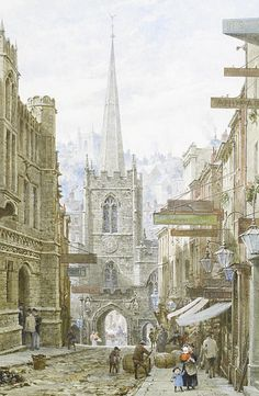 Peter's Church in 1924 Broad Street, Bristol Medieval Houses, Medieval Life, Urban Life, City Streets, Beautiful Buildings, Traditional Art, Bristol, Great Places, Home Art