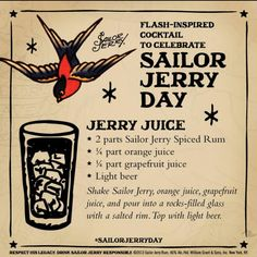Jerry Juice. Sailor Jerry Spiced Rum, orange juice, grapefruit juice, light beer, salted rim. Page no longer exists
