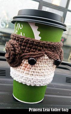 Ravelry: Princess Leia Coffee Cozy pattern by Aunt Janet& Designs Crochet Coffee Cozy, Crochet Cozy, Crochet Gifts, Cute Crochet, Star Wars Crochet, Crochet Stars, Crochet Roses, Crocheted Flowers, Coffee Cozy Pattern