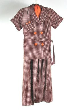 1940s Cotton Lounging Pajamas with by AliceBlueGownVintage on Etsy