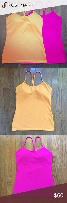 Lululemon Power Y Tanks Bundle (2 tops!) Bright orange and fuchsia Lululemon tanks in great condition! So soft and comfy 😊 Built in bra and removable cups. Racerback style. If sold separately, $32 each! lululemon athletica Tops