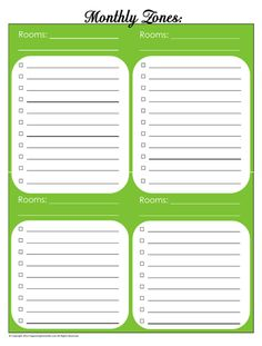 31 Days of Home Management Binder Printables: Day #5 Monthly Zones Chore Schedule (blank and complete) | Organizing Homelife