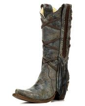 Women's Cowhide Snip Toe Boot with Overlay Embroidery and Studs - A3147, Turquoise