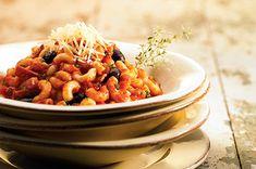 Elbows with Prosciutto, Olives and Marinara (Gobetti alla Boscaiola) : Healthy Pasta Recipes