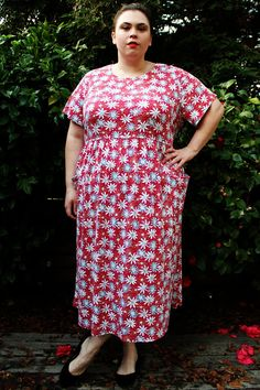 Plus Size - Vintage Red Floral Knit Empire Waist Maxi Dress by TheCurvyElle, $40.00