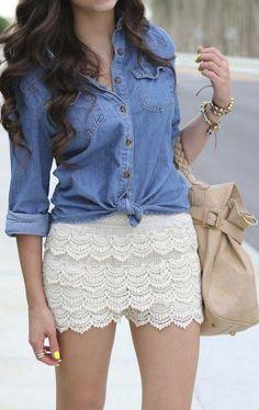 Chambray + crochet shorts