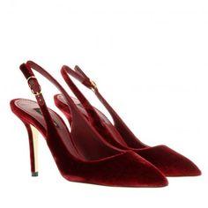 Dolce&Gabbana Pumps – Slingback Velluto Bellucci Red – in rot – Pumps für Damen