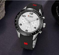 CURREN 8167 Silicone Strap Sport Quartz Watch Silica Gel, Waterproof Watch, White Brand, Watch Case, Watches Online, Quartz Watch, Fashion Watches, Watch Bands, Bag Accessories