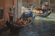 "Gondolas Rounding a Corner by James Crandall Oil ~ 24"" x 36"""