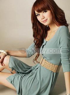 New Fashion Pretty Sweet Japanese Style Round Neckline Comfortable Day Dress : Tidebuy.com