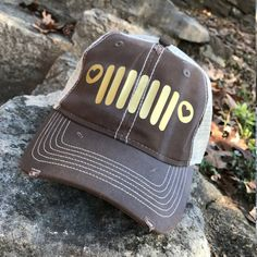 Jeep Grill Trucker Hat Brown and Gold: by Serendipitybeyondtee