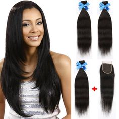 3 Bundles Peruvian Straight Virgin Hair Weaves With Lace Front Top Hair Closure #Dsoar #StraightBundle