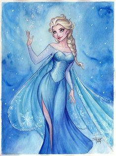 Elsa Watercolor (Frozen) by Sabinerich Frozen Drawings, Disney Drawings, Frozen Disney, Elsa Frozen, Disney Princess Art, Disney Fan Art, Frozen Fan Art, Disney Queens, Frozen Characters