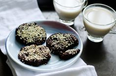 Double Chocolate Black Bean Cookies with Sesame (vegan, gluten free, dairy free) inspired by Sarah Britton's chocolate cherry black bean cookies. Wonderful post-workout snack or a healthy treat!