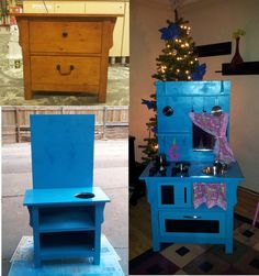 Kid's Kitchen, Homemade out of a  bedside table.