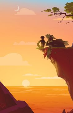 Hiccup and Toothless in tha sunset. Hiccup needs to be careful 'cause he can fall.
