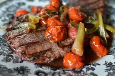 Grilled Steak with Tomatoes & Scallions