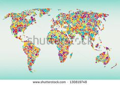Multicolored dots world map. Easy colors change - stock vector